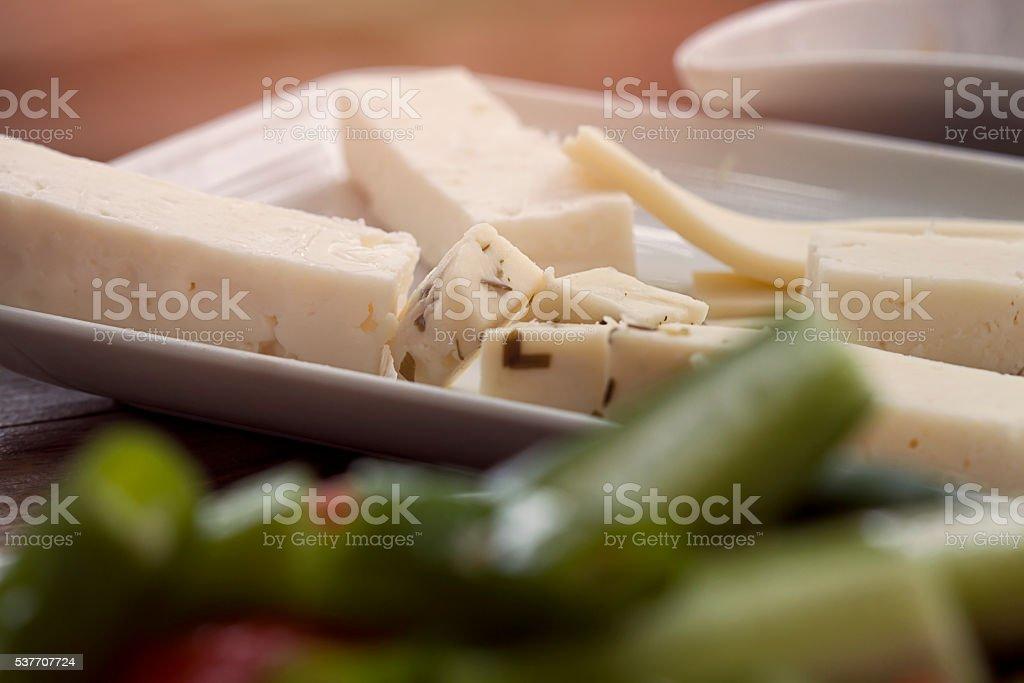 Feta cheese cut in cubes stock photo