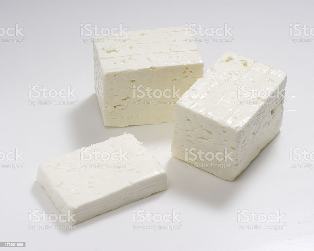 Feta Cheese in 3 pieces royalty-free stock photo