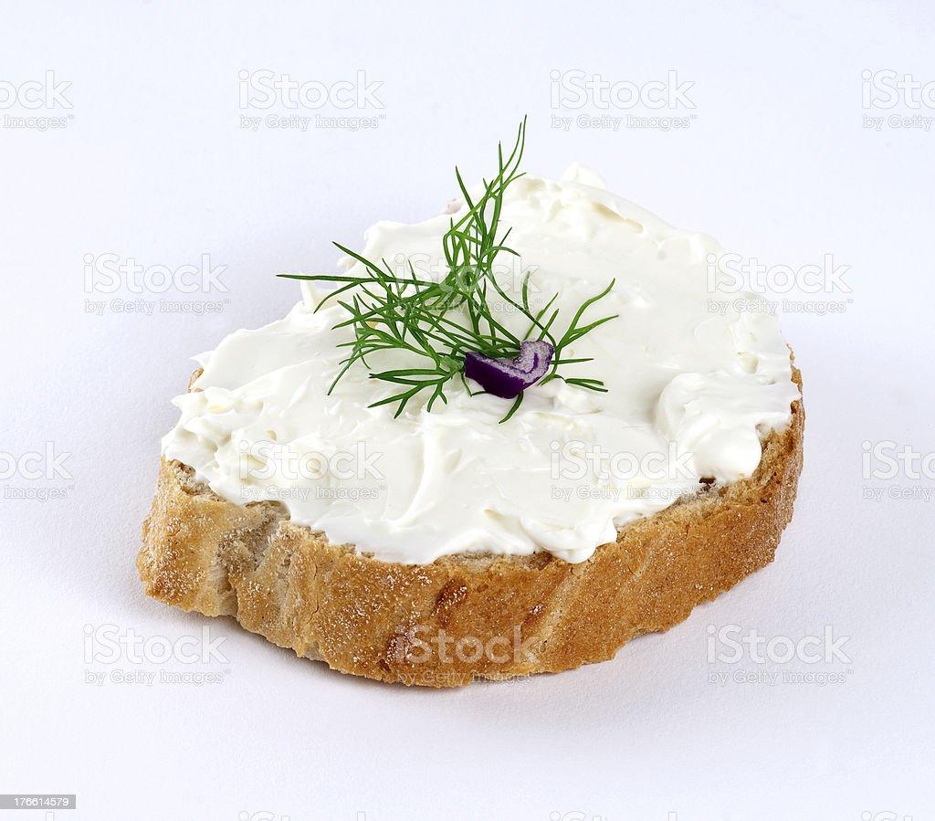 feta cheese spread on bread stock photo