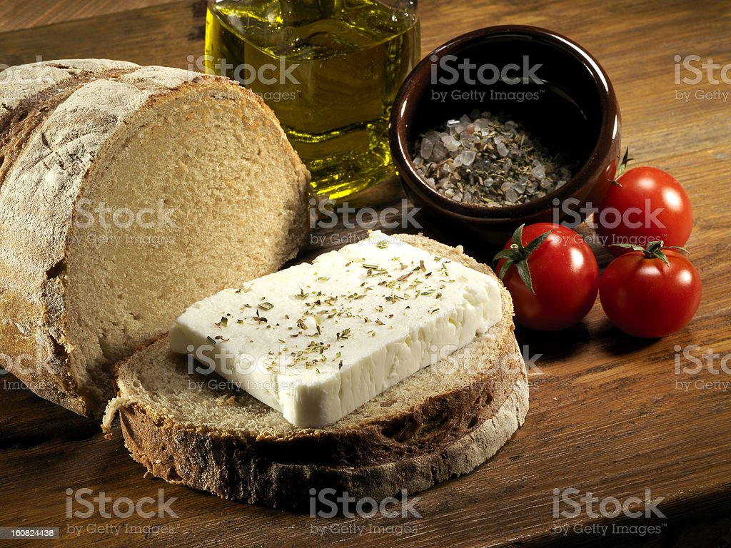 feta cheese with bread royalty-free stock photo