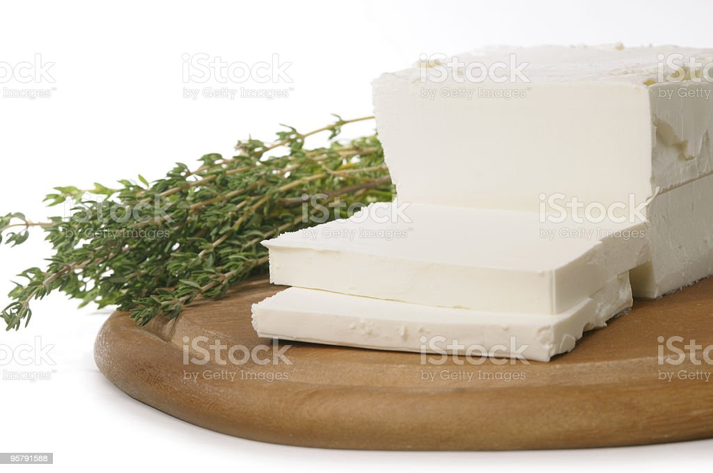 Feta cheese with thyme royalty-free stock photo