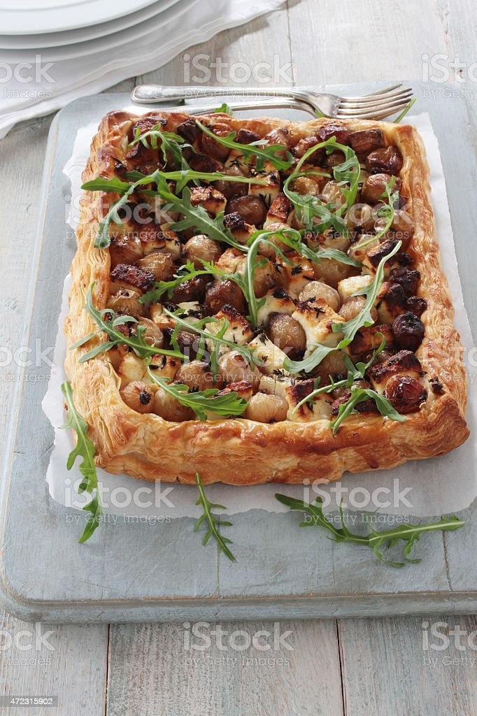 fetta and shallot puff pastry tarte stock photo