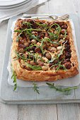 fetta and shallot puff pastry tarte