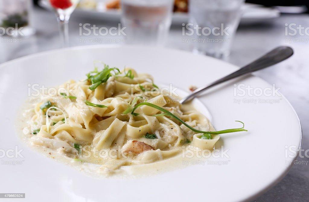 Fettuccine Alfredo Pasta stock photo