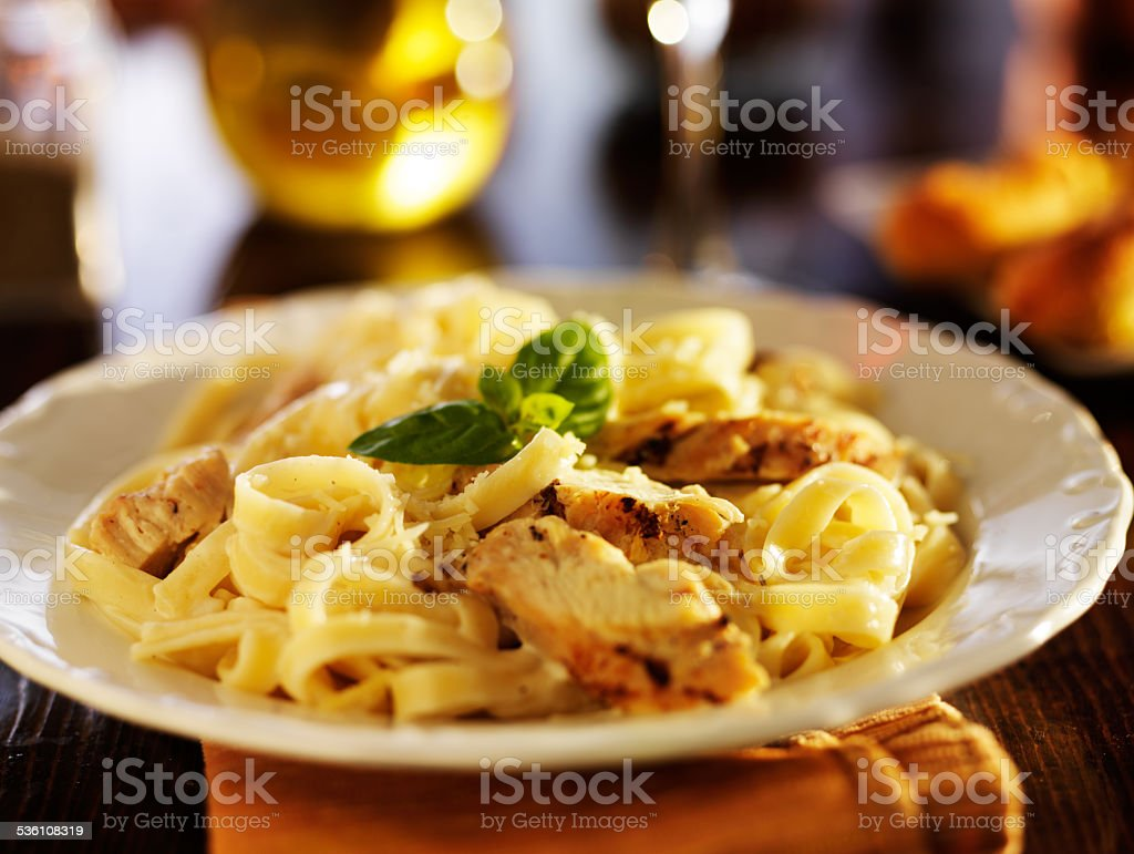 fettuccine alfredo pasta stock photo