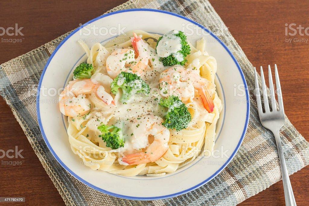 Fettuccine Alfredo Shrimp stock photo