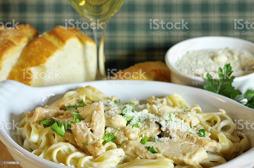 Fettuccine Alfredo with Chicken royalty-free stock photo