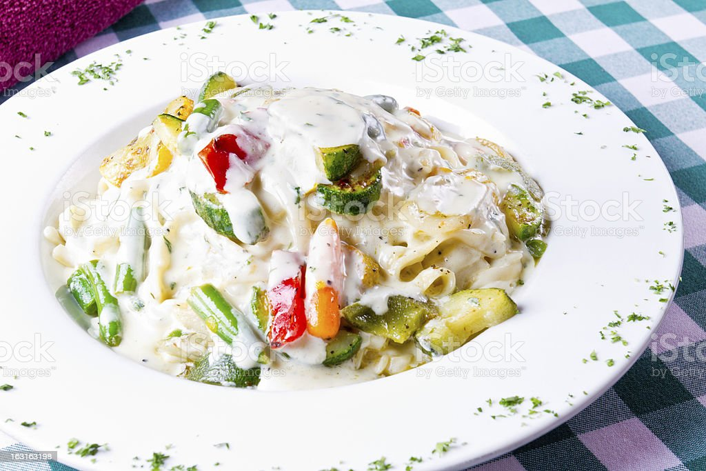 Fettuccine Alfredo with Vegetables stock photo