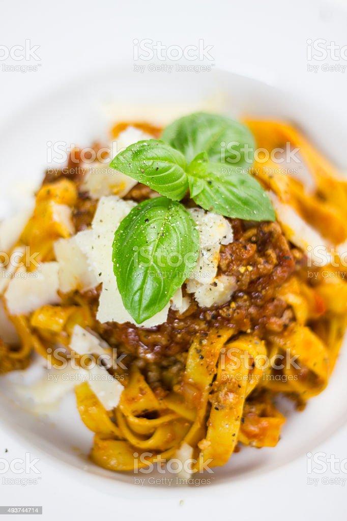 Fettuccine bolognese. stock photo