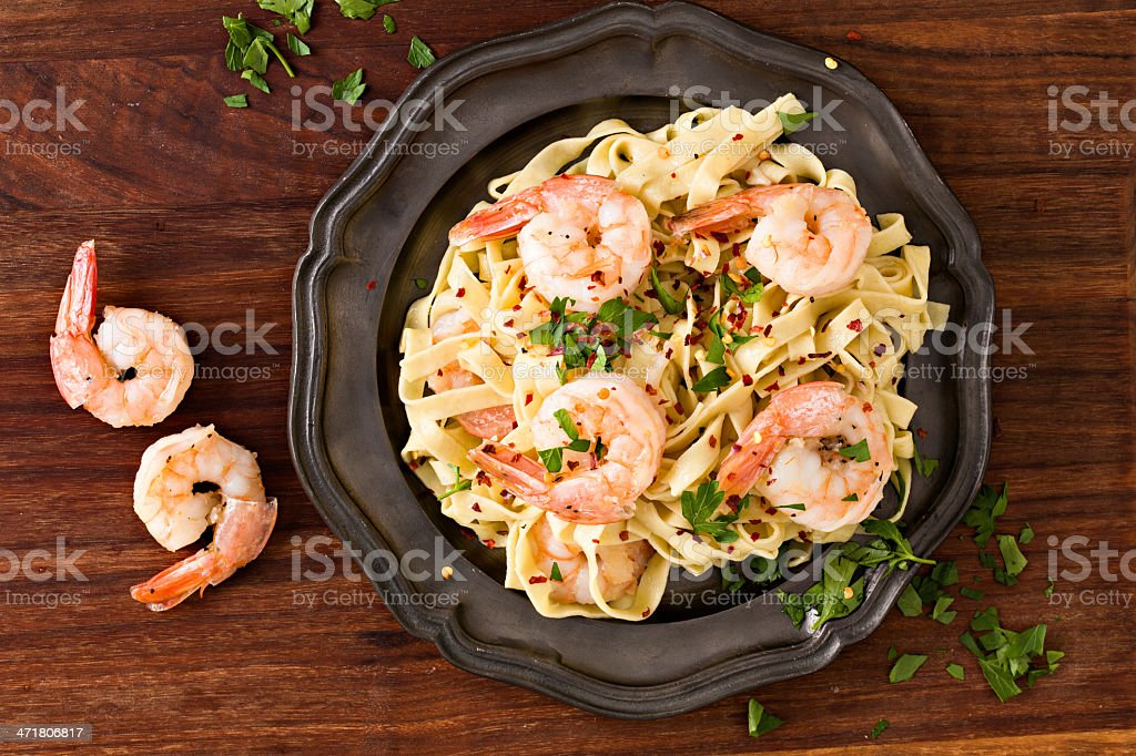 Fettuccine Garlic And Shrimp royalty-free stock photo