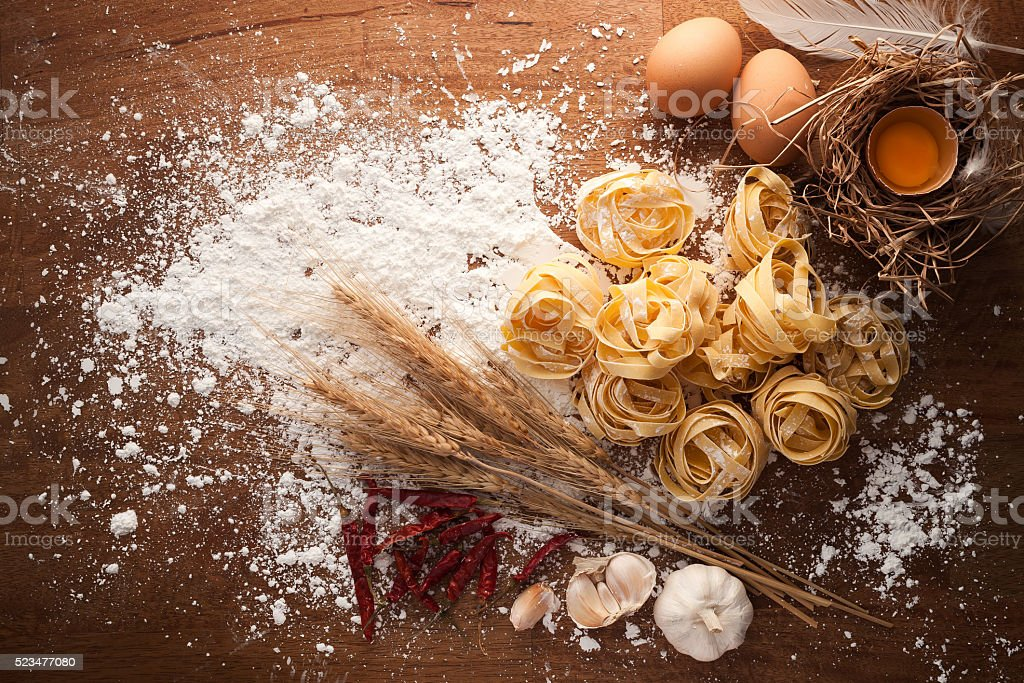fettuccine pasta italian food still life rustic stock photo