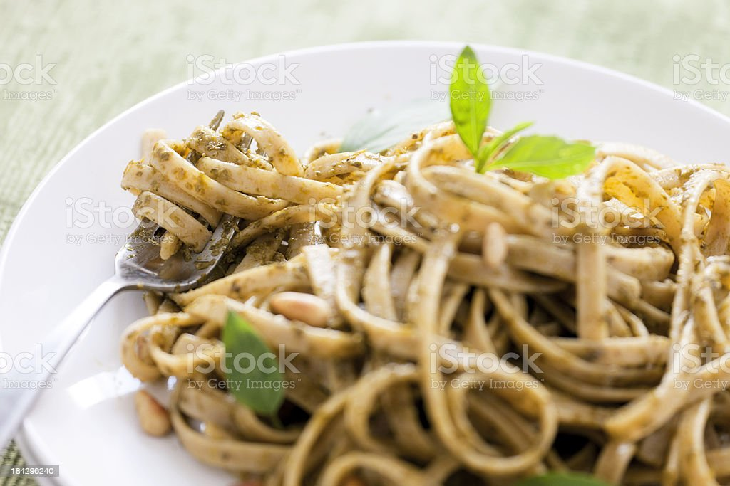 Fettuccine Pesto Pasta royalty-free stock photo
