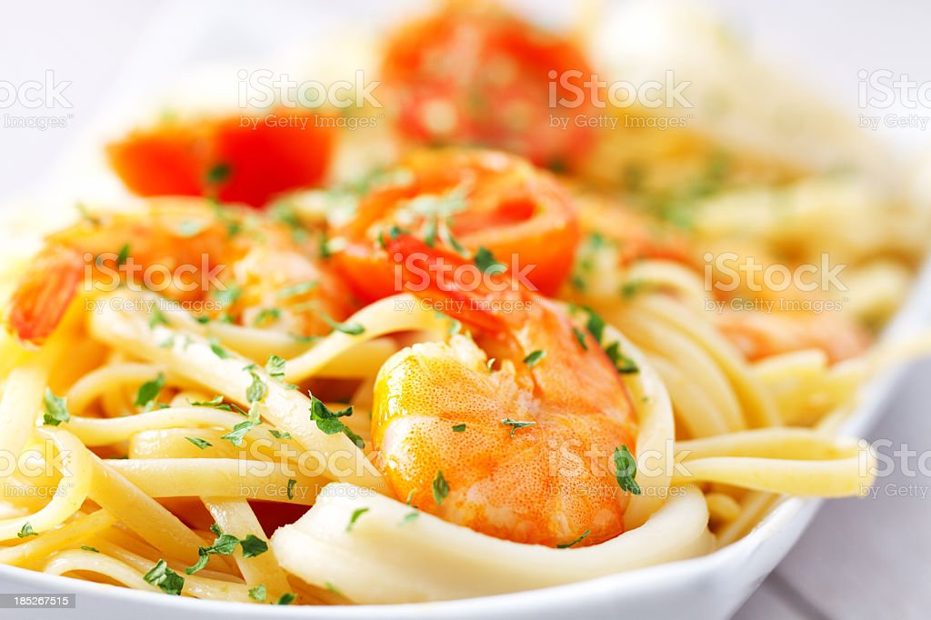 Fettuccine with shrimp and squid royalty-free stock photo