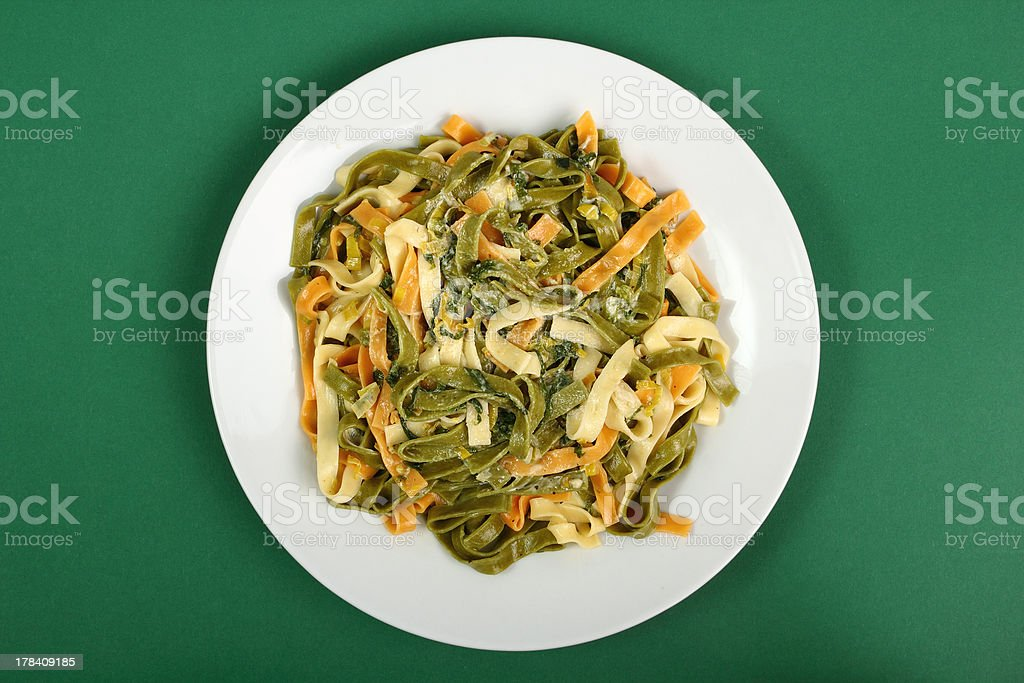 Fettuccine with Spinach and Leek royalty-free stock photo