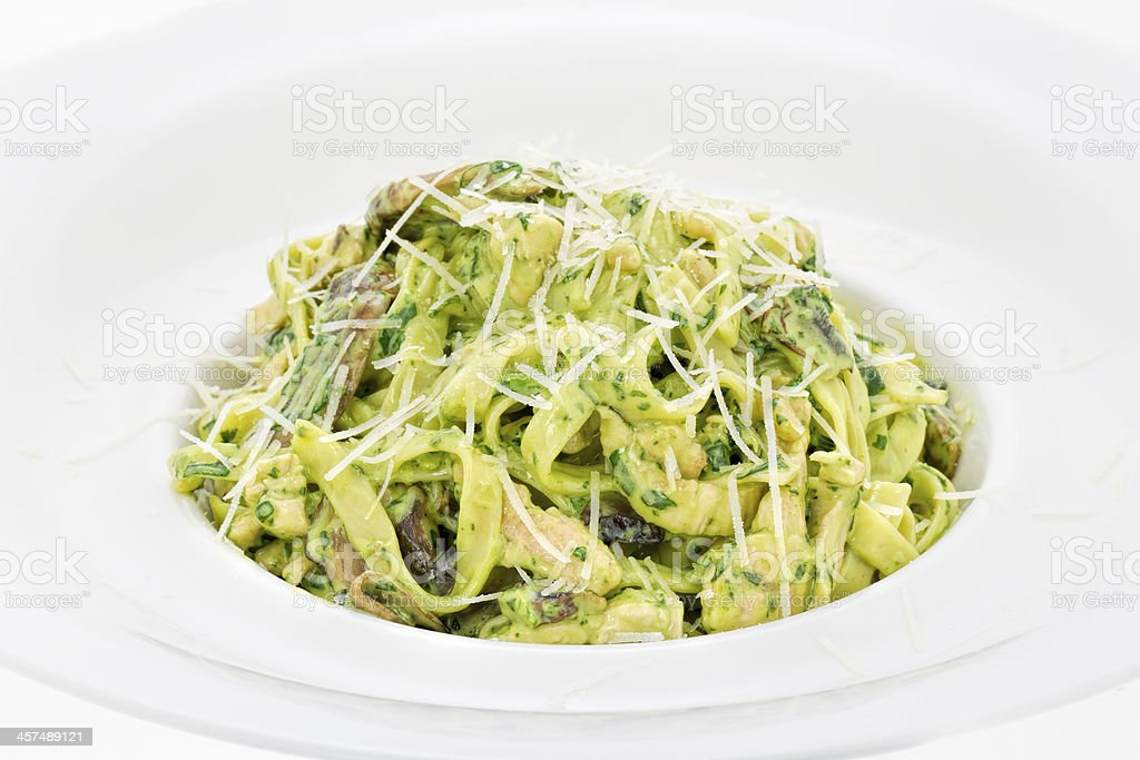 Fettucini Alfredo with spinach sauce royalty-free stock photo