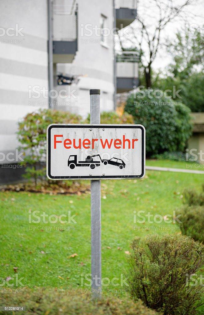 Feurwehr german street stock photo
