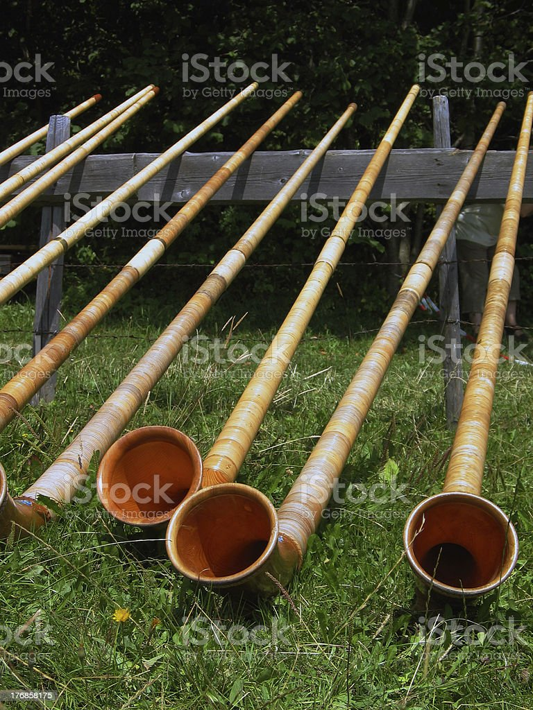 few alphorns stock photo