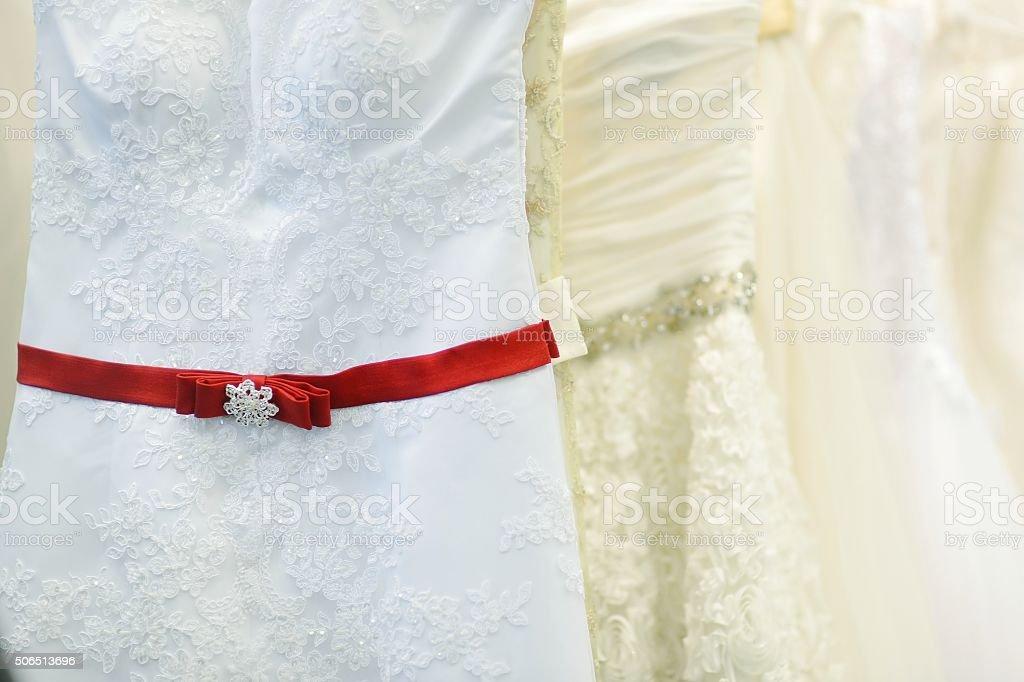 Few beautiful wedding dresses stock photo