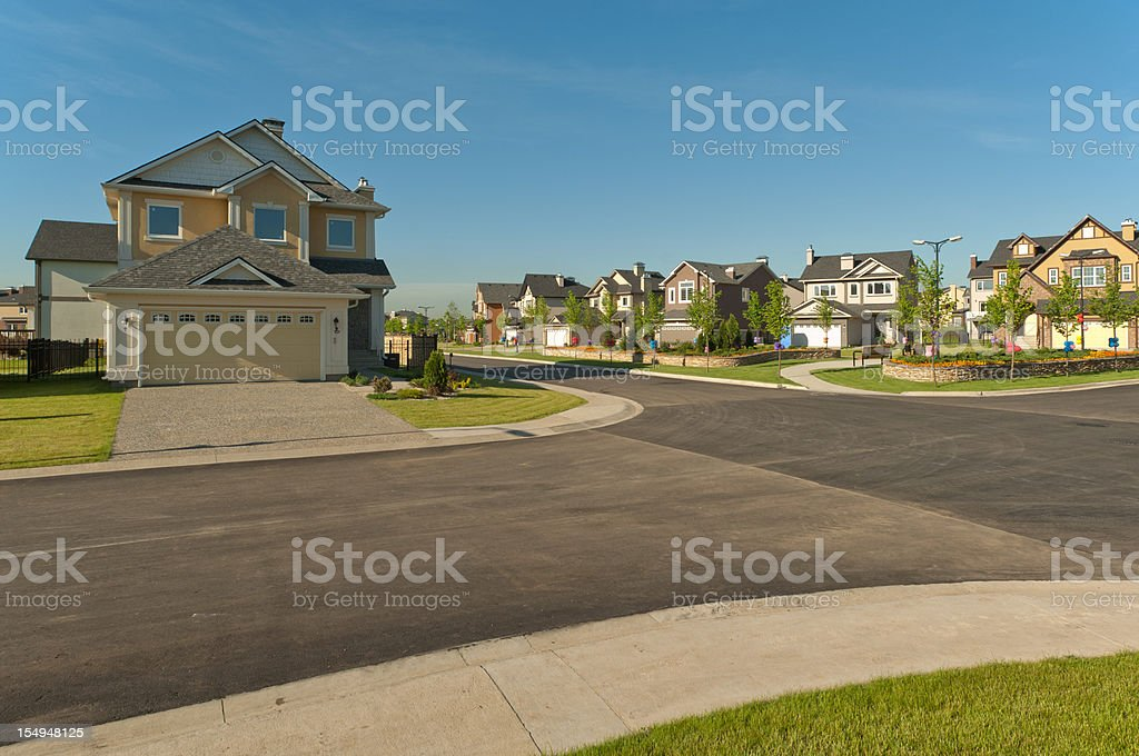 Few brand new suburban houses. stock photo