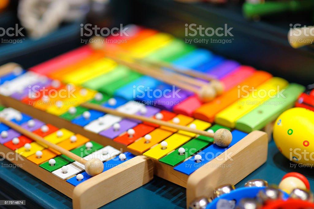 Few bright xylophones stock photo