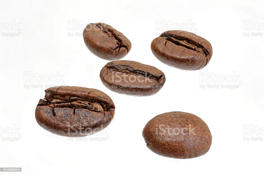 few coffee beans for cropping stock photo