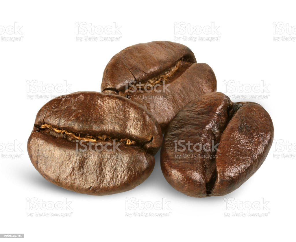 few coffee beans isolated on white, path stock photo