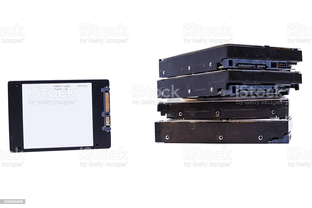 few Hard disk drives, HDD on white stock photo