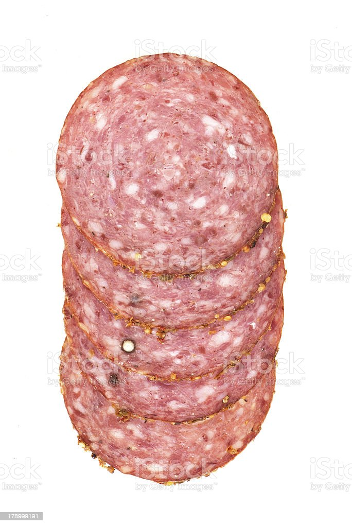 Few sliced pieces of sausages royalty-free stock photo