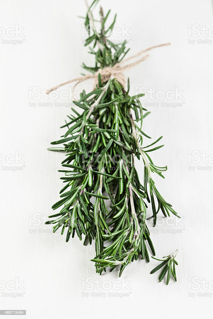 A few sprigs of rosemary tied up with a beige colored rope stock photo
