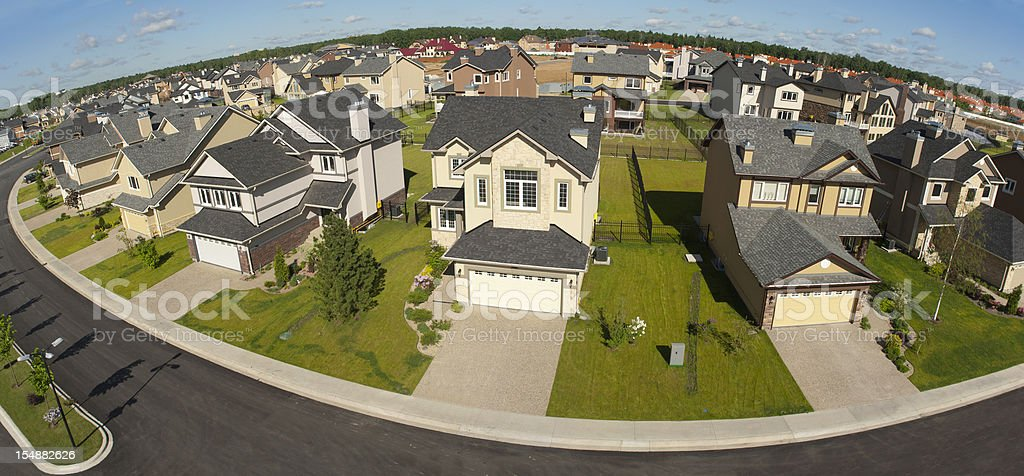Few suburban houses. High angle view. stock photo