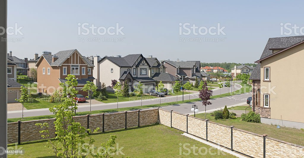 Few suburban houses in sunny summer afternoon. royalty-free stock photo