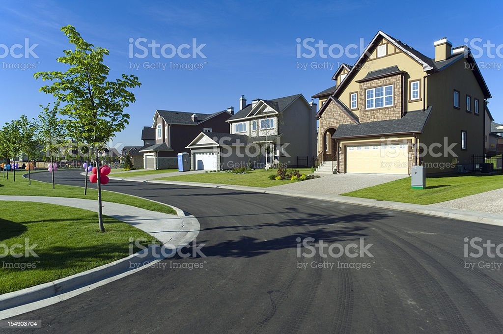 Few suburban houses stock photo
