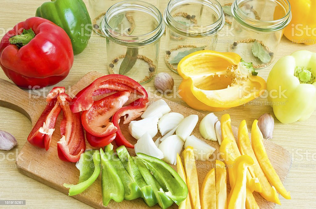Few types of pepper ready to canning royalty-free stock photo