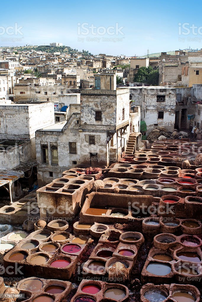 Fez Cityscape and Tannery stock photo