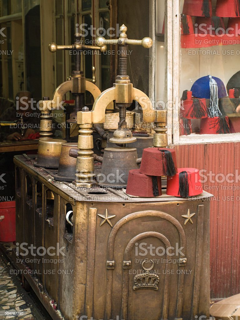 Fez maker in Cairo, Egypt stock photo