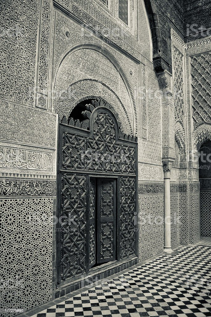 Fez Medina Medersa stock photo