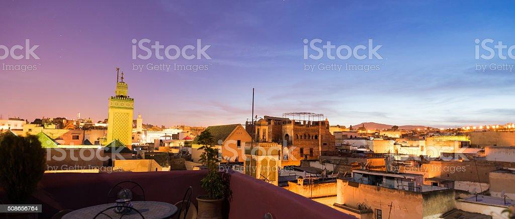 Fez, Morocco skyline at dusk stock photo