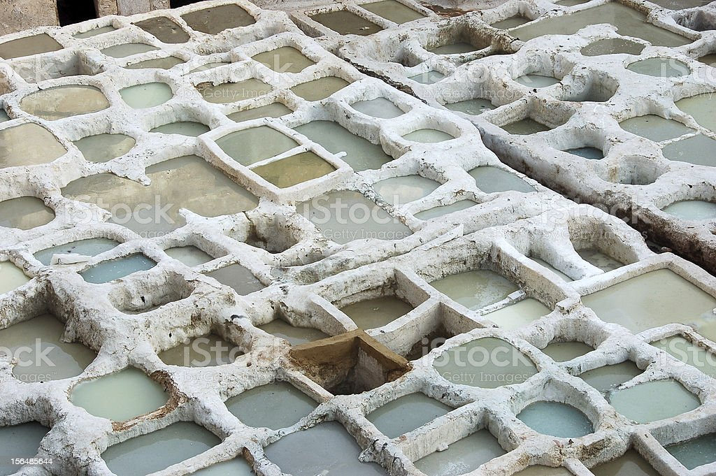 Fez Tanneries in Morocco royalty-free stock photo