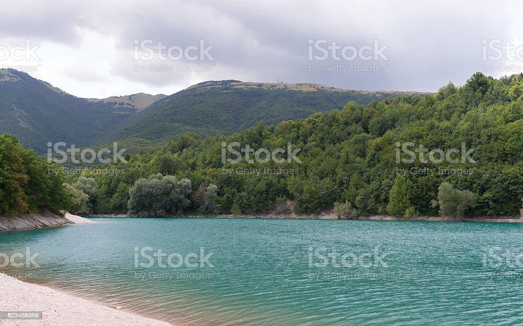 Fiastra lake- Italy stock photo