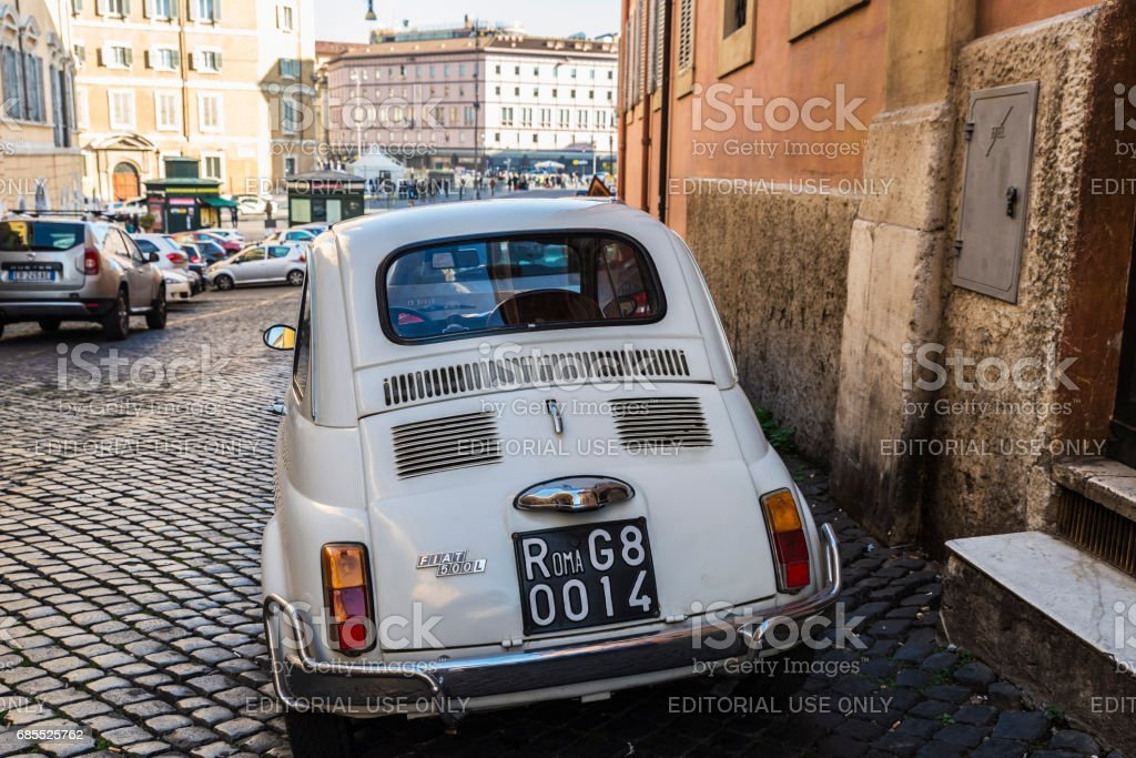 Fiat 500 car parked in Rome, Italy stock photo