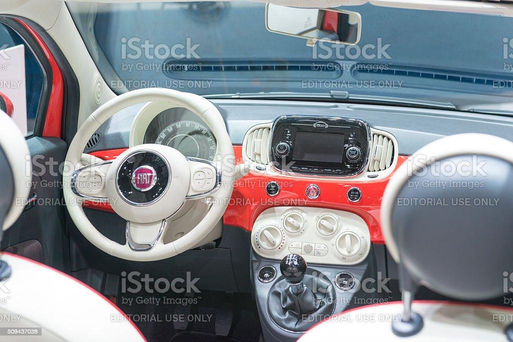 Fiat 500 compact hatchback car interior stock photo