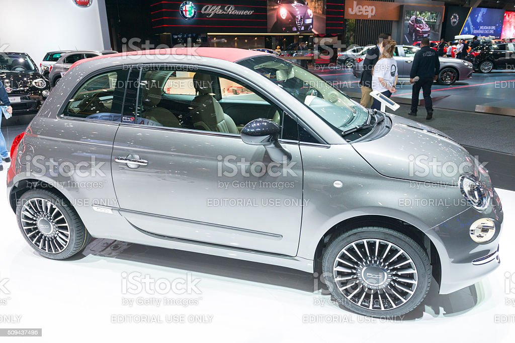 Fiat 500C compact hatchback car with a soft top stock photo
