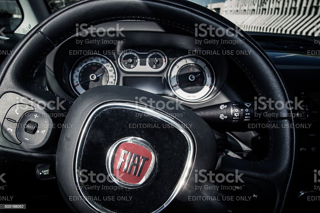 Fiat 500L steering wheel and dashboard stock photo