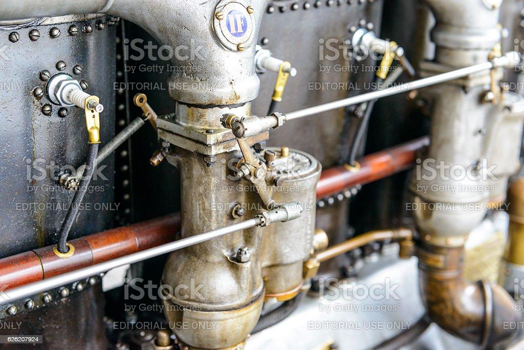 Fiat Isotta Fraschini classic speed record race car engine detai stock photo