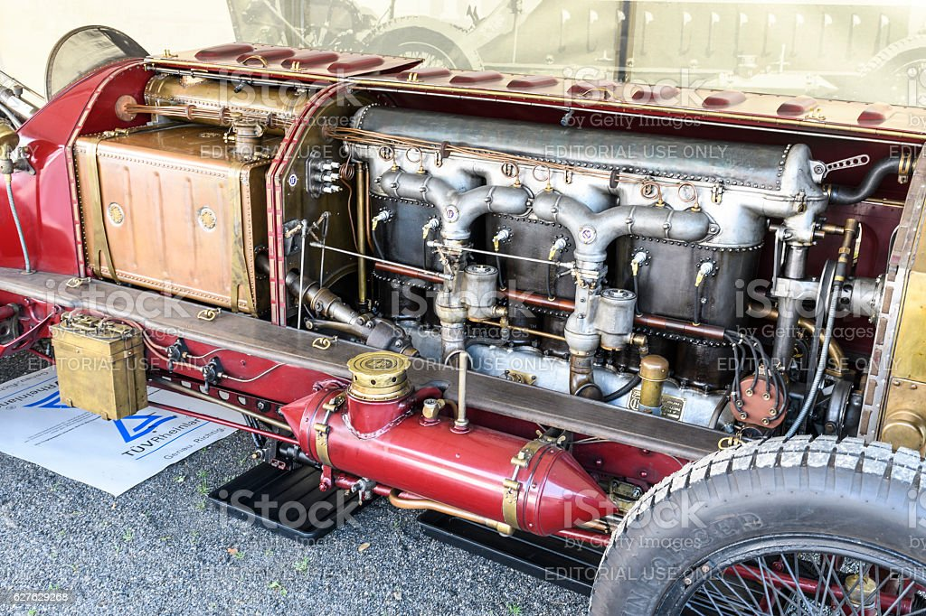 Fiat Isotta Fraschini classic speed record race car engine stock photo