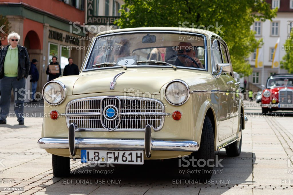 NSU Fiat Neckar Spezial at the eMotionen event on April 23, 2017 in Ludwigsburg, Germany stock photo