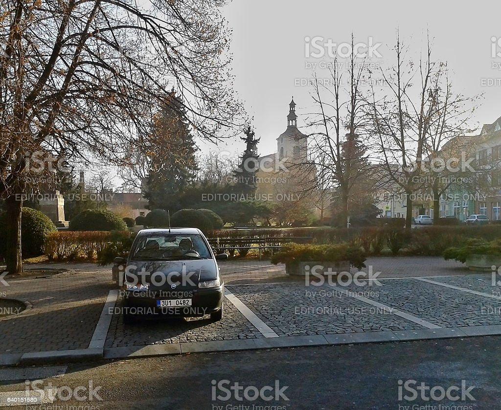 Fiat Punto on Wenceslas Square on archival image stock photo