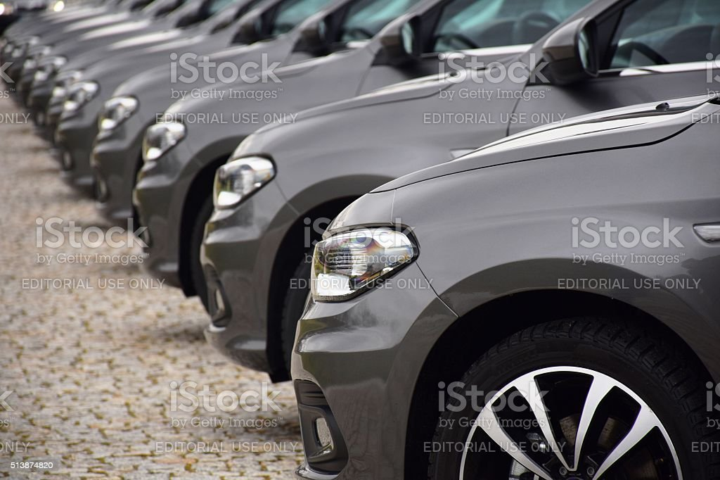 Fiat vehicles on the parking stock photo