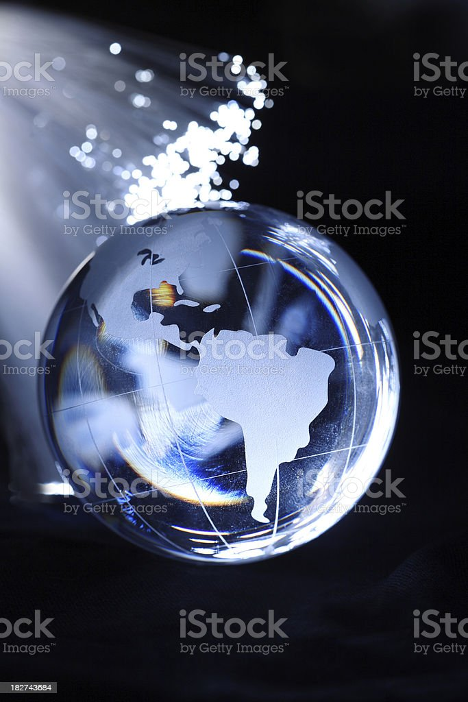Fiber optic and globe stock photo