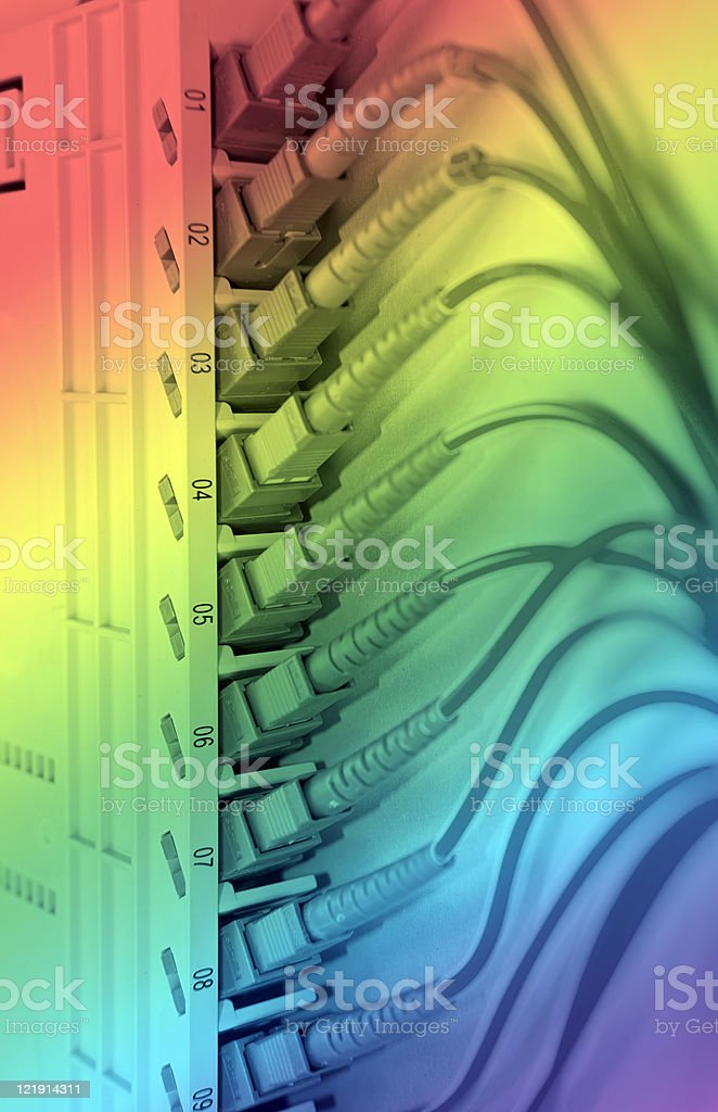 fiber optic cable in Technology center stock photo